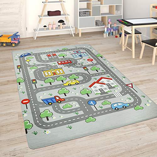 Paco Home Alfombra para Habitación Infantil Juegos Bebé Alfombras Infantiles Carreteras, tamaño:155x230 cm, Color:Gris