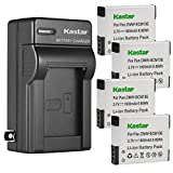 Kastar 4-Pack Battery and AC Wall Charger Replacement for Panasonic Lumix DMC-ZS45 DMC-ZS45K, Lumix DMC-ZS50 DMC-ZS50K, Lumix DMC-FT5 DMC-FT5A DMC-FT5D DMC-FT5K DMC-FT5S, Lumix DMC-FT6, Lumix DMC-FT7