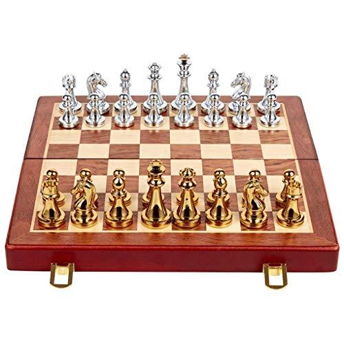 dwkkong Juego de ajedrez Plegable de Chess Metal Bronce Bronce Game Dedicado Adornos de ajedrez