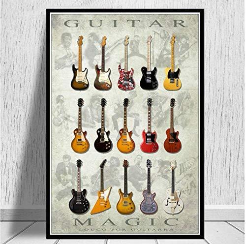 NVRENHUA Notation Gitarre Poster Print Collage Sammlung Musik ölgemälde Kunst wandbild Wohnzimmer Home Club bar Dekoration 42x60 cm rahmenlose