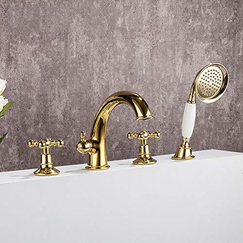 Badewanne Wasserhahn, weit verbreitete Badewanne Füllung Badewanne Wasserhähne mit Handbrause Luxus Deck Montage Badewanne Wasserhahn, Gold
