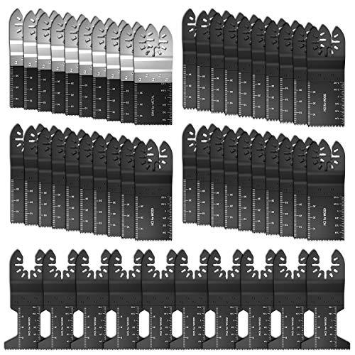 Littlegrass 50 Pack Professional Upgrade Bi-Metal Oscillating Saw Blades Universal Quick Release Multitool Tool Blade Japan Tooth for Bosch Craftsman DeWalt Dremel Fein Ridgid Tch Makita