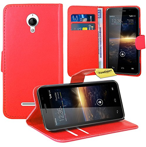 Vodafone Smart 4 Turbo Handy Tasche, FoneExpert® Wallet Case Flip Cover Hüllen Etui Ledertasche Lederhülle Premium Schutzhülle für Vodafone Smart 4 Turbo (Rot)