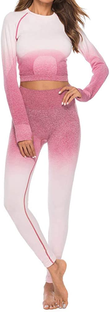 Women's Fitness Set Sport Yoga Athletic Suit Dye Tops Leggings Set