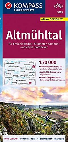 KOMPASS Fahrradkarte Altmühltal 1:70.000, FK 3329: reiß- und wetterfest mit Extra Stadtplänen (KOMPASS-Fahrradkarten Deutschland, Band 3329)