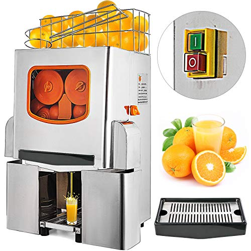 VEVOR Exprimidor de Naranjas, 120 W, Máquina Automática Comercial Naranja, 20 Naranjas/Min, Exprimidor Naranjas Profesional, Acero Inoxidable de Grado Alimenticio, Maquinas de Zumo de Naranja