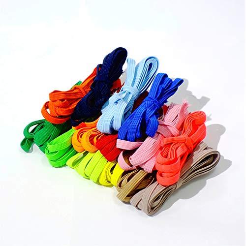 Matsa Pack 14 Cordones Mascarillas, Banda Plana 6mm, Cuerda Goma Elástica Costura, Manualidades, DIY, Ropa, Bricolaje (2m por Color, 28 Metros), Multicolor, Único