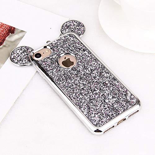 LIUYAWEI Funda de Lujo con Oreja de ratón 3D para iPhone 11 Pro MAX XR XS X Funda de Silicona con Purpurina Brillante Coque para iPhone 8 7 6 Plus 5 5S SE 10 Funda, siliver, para Galaxy S6