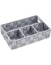WENKO Organizer Adria Small Grey - bathroom basket, Polypropylene, 26 x 6.5 x 17 cm, Grey