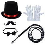 Tigerdoe Ringmaster Costume Accessories - Ringmaster Hat - 5 Accessories - Circus Party Supplies Black