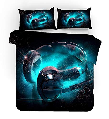 Bedding Set Cool Trend DJ Music Design Duvet Cover 3D Printing Microfiber Pillowcase, Blue Red Black Lightning Boys Bedding (Style 3,Double)