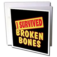 Dooni Designs Survive Sayings – I Survived Broken Bones Survival Pride andユーモアデザイン – グリーティングカード Set of 6 Greeting Cards