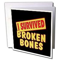 Dooni Designs Survive Sayings–I Survived Broken Bones Survival Pride andユーモアデザイン–グリーティングカード Set of 6 Greeting Cards
