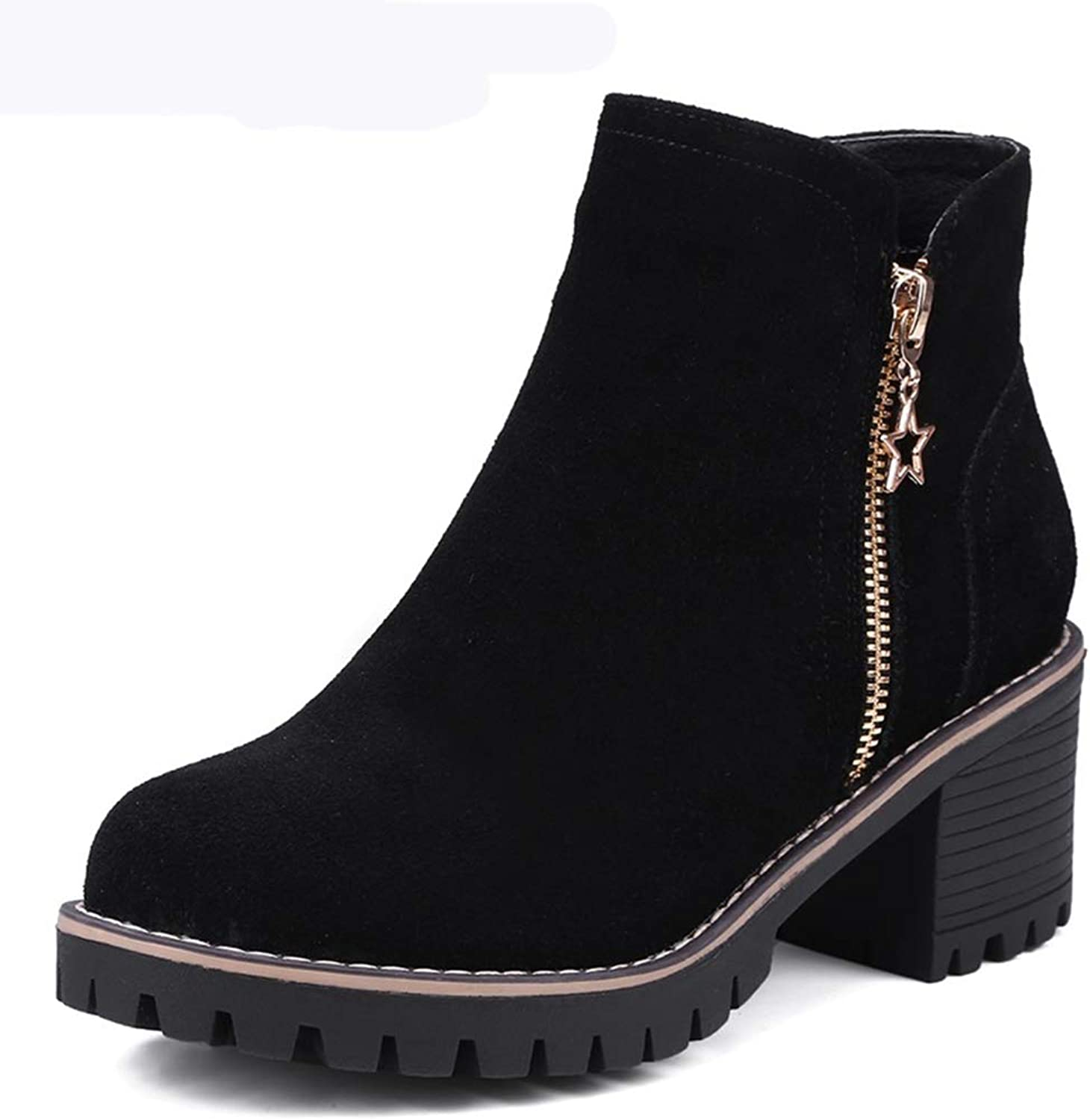 Women's Ankle Boots Concise Casual Suede shoes Women Square High Heel Platform Zipper Ankle Boots