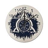 Reloj de Pared Vintage,Azul y Negro Nudo Celta con TR,Relojes de Pared de Madera silenciosos Que no Hacen tictac,Reloj de Pared rústico de Granja para la decoración del Dormitorio de la Sala de Estar