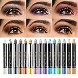 LSxia 15 Colors Glitter Eyeshadow Stick Colorful Set, Shimmer Glitter Pearl Cream Eye-Shadow Stick Eyeshadow Crayon, Shiny Colored Sticks Eyeshadow Pen Eye Makeup, Long Lasting Smooth Eye shadow Stick
