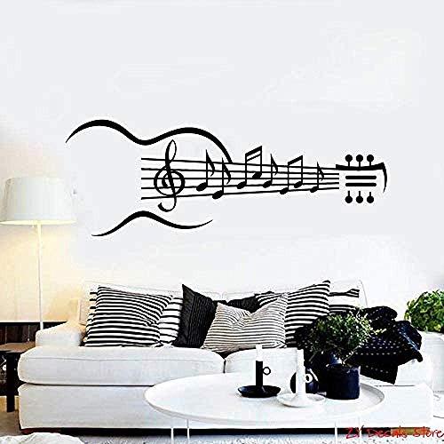Notas Musicales Vinilo Tatuajes De Pared Guitarra Instrumento Musical Notas Musicales Etiqueta De La Pared Extraíble Arte Mural Papel Pintado Para El Dormitorio 56X156Cm