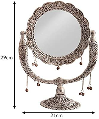 JaipurCrafts Premium Antique Mirror for Vanity| Make Up| Mirror for Wall| Mirror for Home Decor| Antique Designer Mirror- 12 in (Silver, Aluminium)