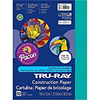 Tru-Ray(R) 50% Recycled Construction Paper, 23cm . x 30cm ., Turquoise, Pack Of 50