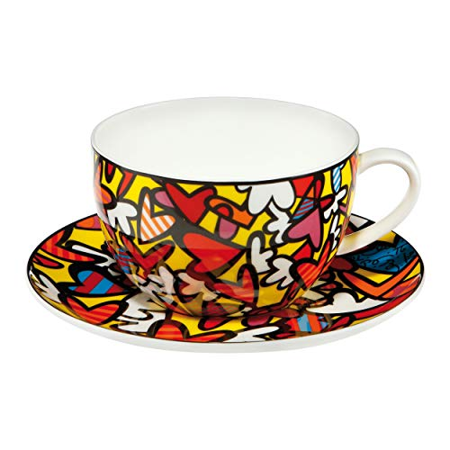 Goebel 66452531 Romero Britto Pop Art Tee-/Cappuccinotasse mit Motiv Hearts