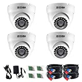 ZOSI 4 Pack 1080P 4-in-1 Security Cameras 2.0MP Waterproof Outdoor Indoor 3.6mm 24PCS Infrared IR Lens Day Night CCTV White Dome Surveillance Cameras Compatible with TVI/CVI/AHD/CVBS DVR