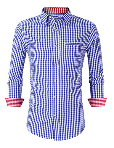 KOJOOIN Herren Kariert Trachtenhemd Landhausstil Langarmhemd Slim fit Hemd, Blau-kontrastfarbe, Gr.- XL/ 40 EU