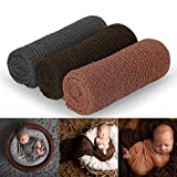 Newborn Photography Props, 3 Pcs Baby Stretch Wraps, Professional Baby Photo Props Long Ripple Wrap, for 0-6 Months Baby (Dark Grey+Coffee+Brown)