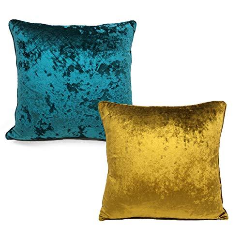 QMZ Fundas de Cojines Funda de Almohada Cuadrada de Color sólido Simple de Terciopelo de Hielo (sin núcleo) 1~2 Piezas Funda de Almohada de Microfibra para decoración de sofá 45cm