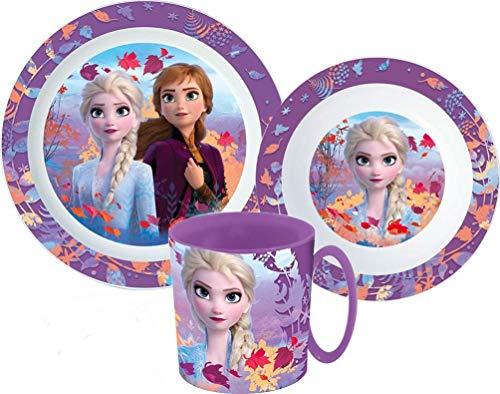 Jona Fynn Care Disney Frozen 2 - Die Eiskönigin Kinder Geschirr-Set mit Teller, Müslischale und Becher im Frozen Design
