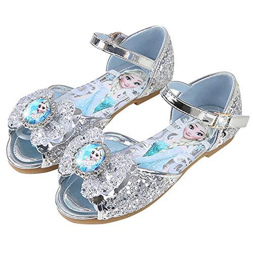 YOSICIL Zapatos de Princesa Elsa Niña Bailarina Zapatos de Tacón Zapatos de Fiesta Sandalias Cumpleanos Zapatilla de Ballet para 3 a 16 Años Azul