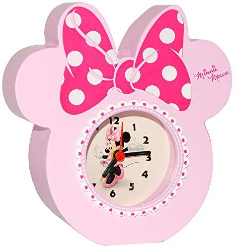 alles-meine.de GmbH Kinderwecker -  Disney Minnie Mouse  - aus stabilen Holz - für Kinder / großer analoger Wecker & Uhr - Alarm / Plastik - für Mädchen - Kinderuhr - Tischuhr ..