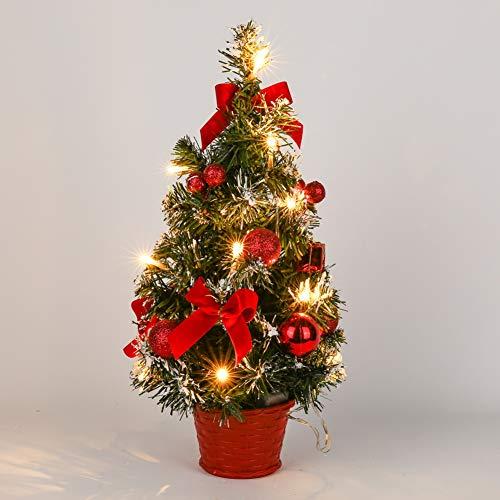 Lucoss Mini Weihnachtsbaum mit Beleuchtung, klein Künstlicher Tannenbaum mit LED Beleuchtung, Rot Baumschmuck Weihnachtskugeln Künstliche Weihnachtsbäume Deko 40CM