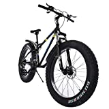 26-Inch Fat Tire Mountain Bike 21-Speed Bicycle High-Tensile Steel Frame Mountain Bike for Men/Women【Shipping from US】