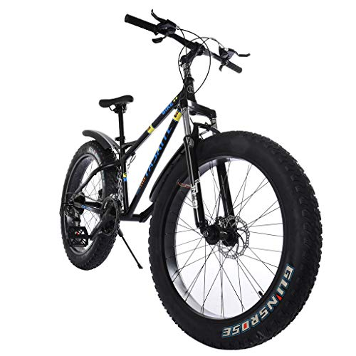 Fat Tire Mountain Bike 21 Speed 26 inch Wheels, Snow Bike Double Disc Brake Suspension Fork Suspension Anti-Slip Bikes, Fat Tire Bike Designed for All-Condition Riding, Including Sand and Snow (Black)
