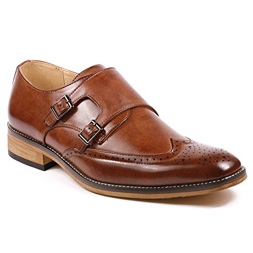 Metrocharm MC104 Men's Double Monk Strap Wing Tip Perforated Slip On Loafers Dress Shoes (10.5, Brown)