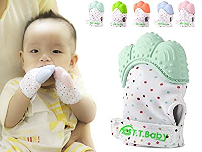 T.T.B Teething Mitten for Babies Self-Soothing Pain Relief and Teething Glove BPA Free Safe Food Grade Teething Mitt for 3 Months+