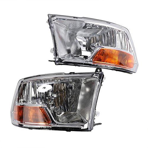 2PC Driver & Passenger Headlights Headlamps Set Replacement for Dodge 2009 2010 2011 2012 2017 Ram 1500 2010 2011 2012 Ram 2500 & 3500