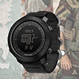 XIYAN Smart Outdoor Watch, Watch Men's Military Tactical Altitude Measurement Air Pressure Month Display <span class='highlight'>World</span> Time Nylon Strap Men's Electronic Gift,Black