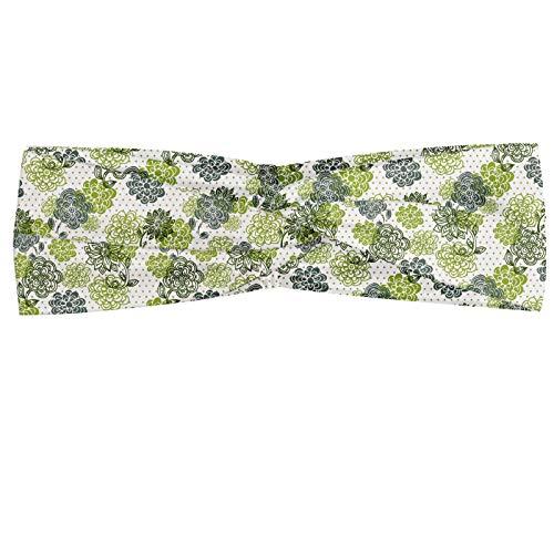 ABAKUHAUS Floral Bandeau, Fleurs abstraites aux nuances vert sur fond Polka Dotted style rétro, Serre-tête Féminin Élastique et Doux pour Sport et pour Usage Quotidien, Pomme verte vert sauge