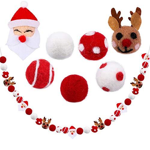 Aneco Christmas Santa Reindeer Felt Ball Garland Banner Christmas Felt Ball Pom Pom Garlands Christmas Hanging Garland for Tree Fireplace and Wall
