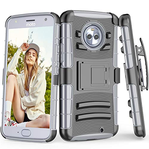 TILL for Moto X4 Case, TILL [Knight Armor] Heavy Duty Full-body Rugged Holster Resilient Protective Case [Belt Swivel Clip][Kickstand] Combo Cover Shell For Motorola Moto X (4th Gen) All Models [Gray]