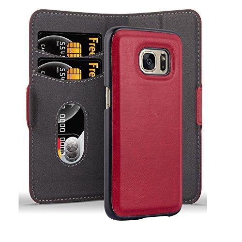 Cadorabo Custodia per Samsung Galaxy S7 Custodia di Libro di Finta-Pelle 2 in 1 in Rosso MELAGRANA – con Chiusura Magnetica, Supporto Funzione, Vani di Carte e Custodia Rimovible – Cover Case Wallet