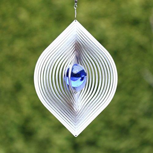 "Edelstahl Windspiel ""BLATT""mit 35 mm Farbglaskugel - Blau - absolut Wetterfest-"