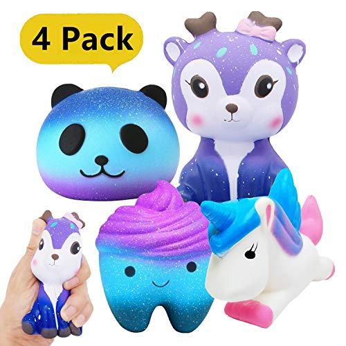 Yetech 4 Pièces Squishy Kawaii Squishies Jouet, Squishy Kawaii Anti Stress Squishies Reliever Jouet pour Enfants Filles garçons(Cerf + Licorne + Dent + Panda)