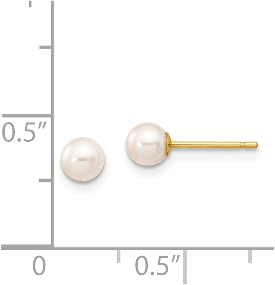 14k Yellow Gold 5mm White Round Freshwater Cultured Pearl Stud Post Earrings Ball Button Fine Jewelry For Women Gifts For Her