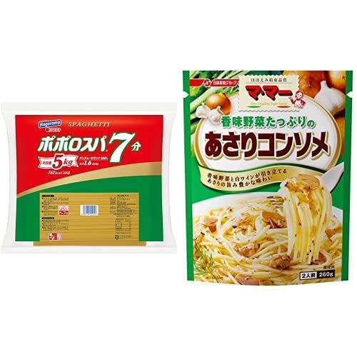 【セット販売】【Amazon.co.jp限定】はごろも ポポロスパ7分 5kg 1.6mm + マ・マー 香味野菜たっぷりのあさりコンソメ 260g×6個