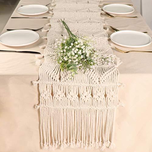 Frunimall Camino de mesa de macramé beige tejido a mano, estilo bohemio, de algodón, lavable para el hogar, cenar, fiestas en interiores y exteriores, decoración de mesa de banquete, 71 x 30,5 cm