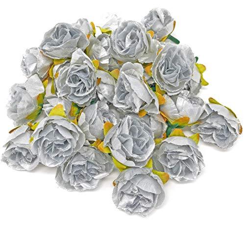 Rosen aus Silber-Blumen, Kunstseide, Mini, Rosenknospen, Textil, silber, 25-30mm