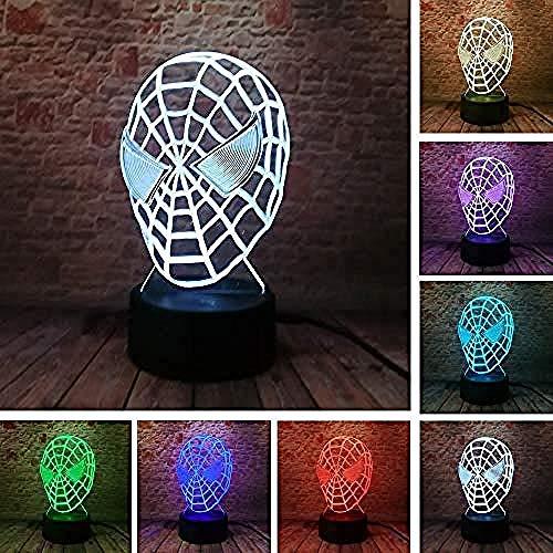 Superhero Spider Iron Man 3D LED Lampe Veilleuse Multicolore RGB Ampoule Cadeau Décoratif De Noël Jouet De Dessin Animé Luminaria IJ Usb Rechargeable Économie D'énergie Garçons Filles News @ E