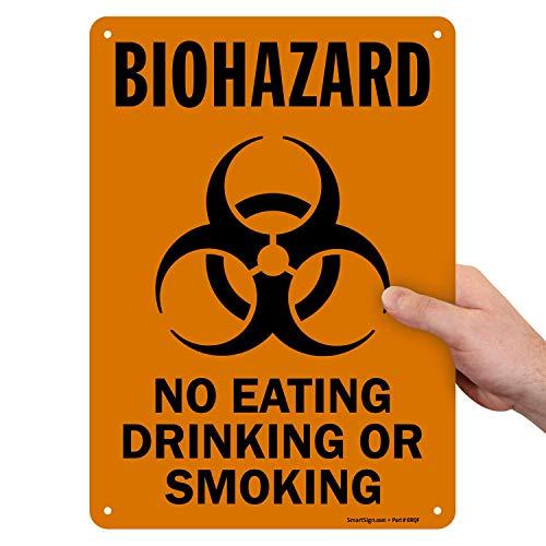 SmartSign by Lyle S-0262-PL-14'Biohazard: No comer, beber o fumar' señal de plástico con gráfico, 14' x 10', negro sobre blanco